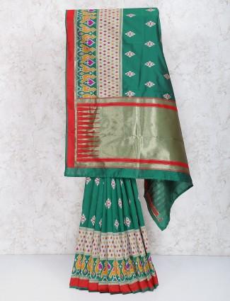 Green color semi silk fabric festive wear sari