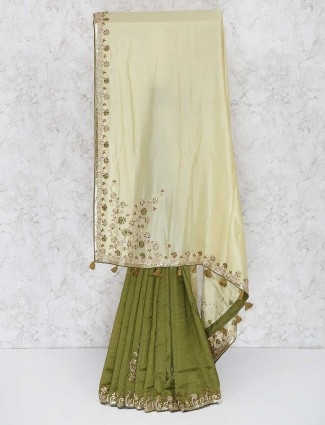 Green color semi silk festive zardosi saree