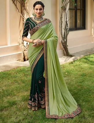 Green color semi silk half and half saree