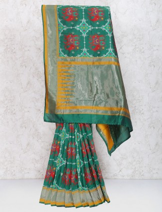Green color semi silk sari