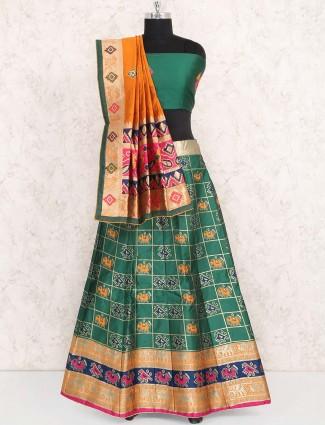 Green color semi stitched cotton silk lehenga choli