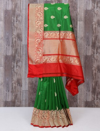 Green color silk fabric saree for bridal