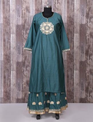 Green color silk lehenga style pakistani suit