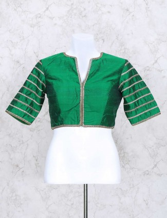 Green color silk ready made blouse