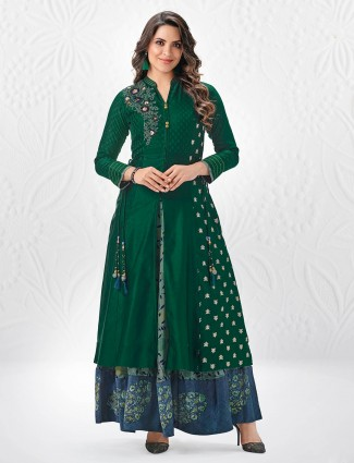 Green color stylish palazzo  suit