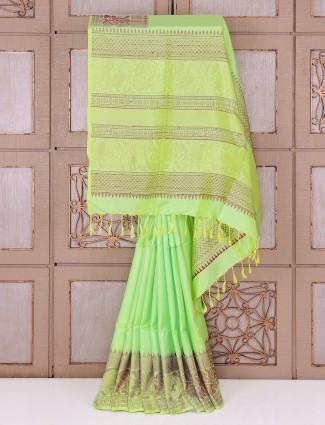 Green color wedding wear silk fabric saree