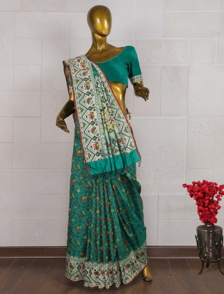 Green color wonderful pure banarasi saree