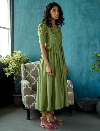 Green colored designer dress in cotton