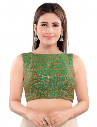 Green colored brocade blouse for women