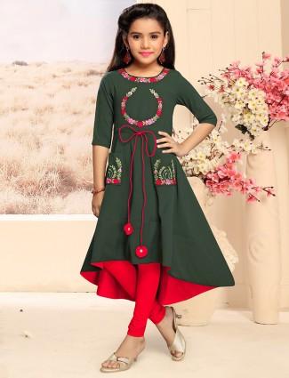 Green colored cotton fabric punjabi suit