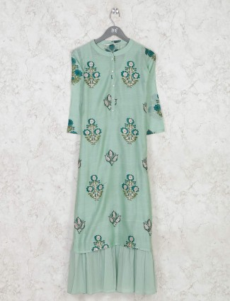 Green colored cotton kurti with floral print