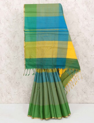 Green colored hue cotton silk saree