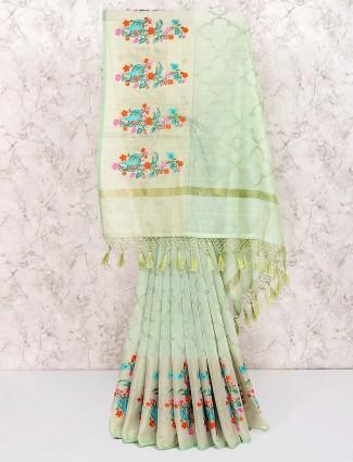 Green colored hue gorgeous saree