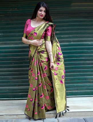 Green colored kanjivaram silk fabric saree