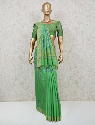 Green colored printed cotton saree