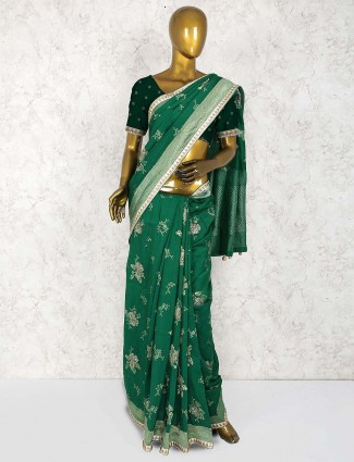 Green colored saree in cotton silk fabric