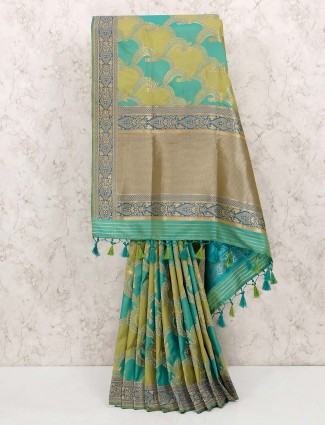 Green colored sari in semi silk