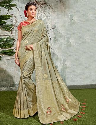 Green colored simple semi silk saree