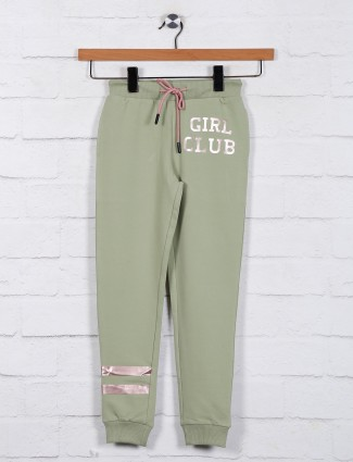 Green cotton casual wear jeggings
