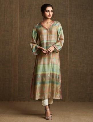 Green cotton casual wear salwar suit