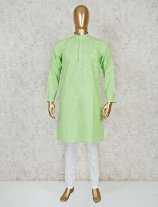 Green cotton classic kurta suit