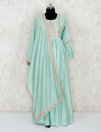 Green cotton embroidery floor length anarkali salwar suit