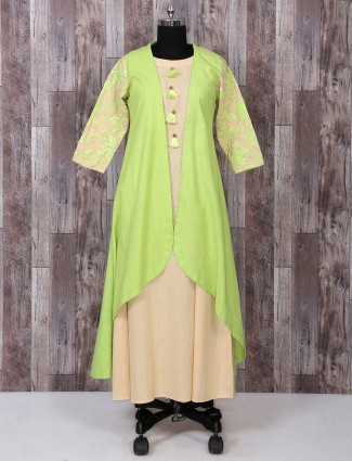 Green cotton festivewear kurti