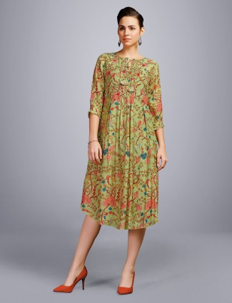 Green cotton kurti in casual