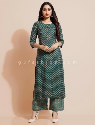 Green cotton palazzo suit printed style