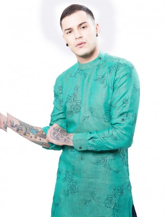 Green cotton printed festive wear kurta suit