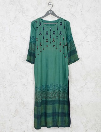 Green cotton printed kurti for festival