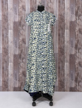 Green cotton printed kurti for festive function