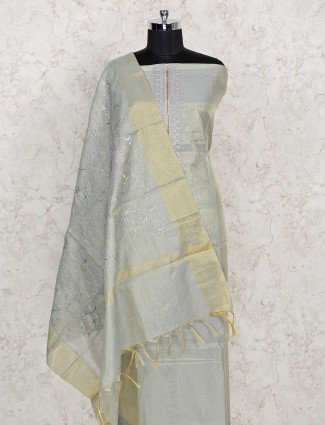 Green cotton punjabi dress material in zari and thread work