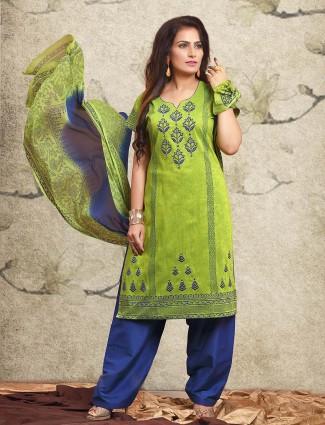 Green cotton punjabi salwar suit for festive get together