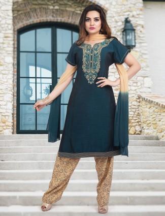 Green cotton punjabi salwar suit with thread work