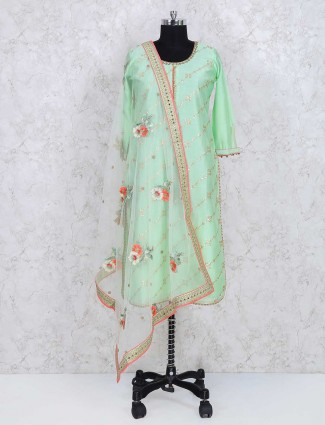 Green cotton silk fabric punjabi salwar suit