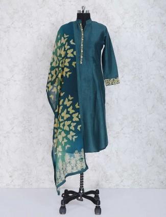Green cotton silk fabric sharara suit