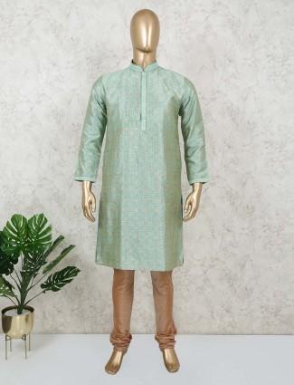 Green cotton silk festive occasion kurta suit