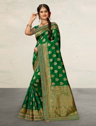 Green cotton silk festive or wedding saree