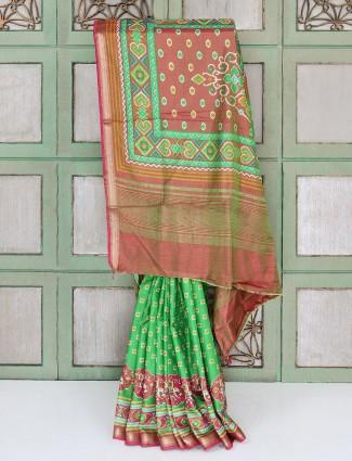 Green cotton silk festive saree