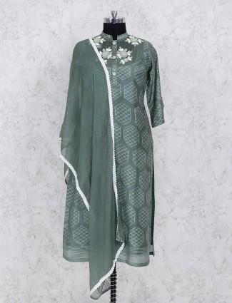 Green cotton silk palazzo salwar suit