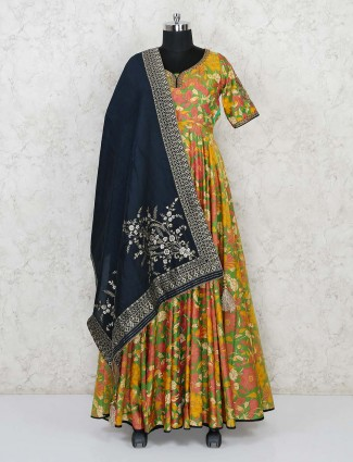 Green cotton silk printed anarkali designer suit
