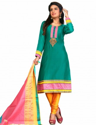 Green cotton silk ready made festive wear salwar suit