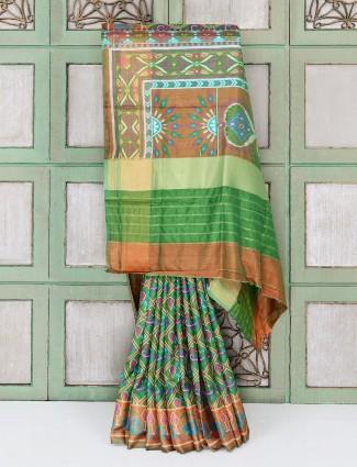 Green cotton silk saree for festive occasion