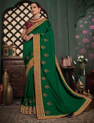 Green cotton silk sari for festive occasions