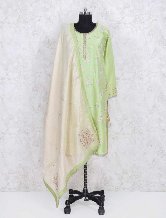 Green cotton silk sharara suit