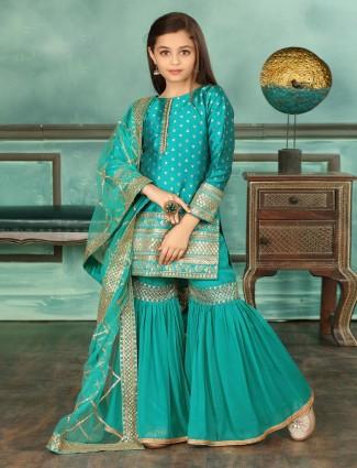 Green cotton silk wedding sharara suit