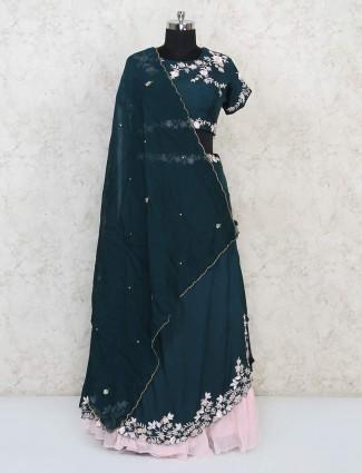 Green cotton silk wedding wear lehenga choli