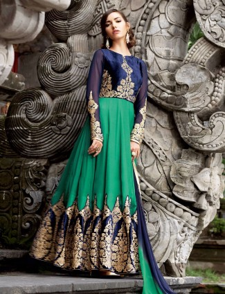 Green cotton silk wedding wear semi stitched anarkali salwar suit