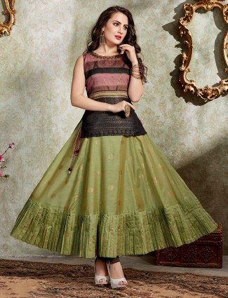 Green cotton silk zari weaving anarkali style tunic
